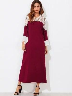 Contrast Lace Long T-shirt Dress