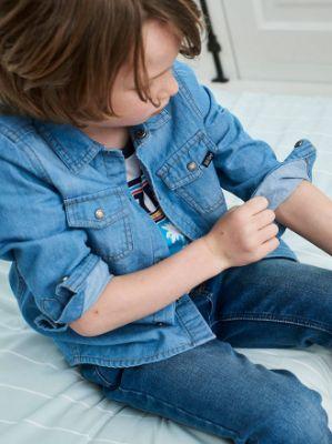 Denim Shirt for Boys- blue medium solid