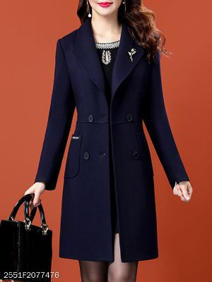 Fold-Over Collar Plain Pure Color Double-breasted Coat