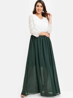 Lace Bodice Color Block Maxi Dress