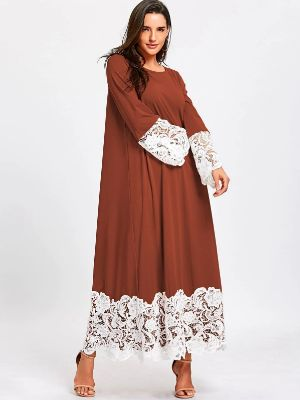 Lace Trimmed Long Sleeve Shift Maxi Dress