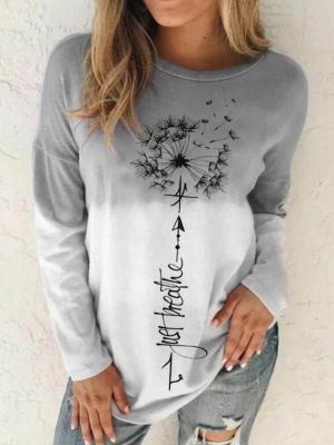 Ladies Dandelion Print Sweatshirt