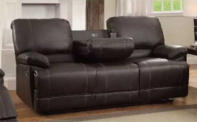 Leather Double Reclining Sofa With Drop Down Cup Holders Brown - Benzara