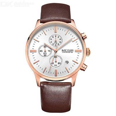 MEGIR 2011 Mens Casual Quartz Wristwatch Multifunctional Waterproof Leather Strap Watch
