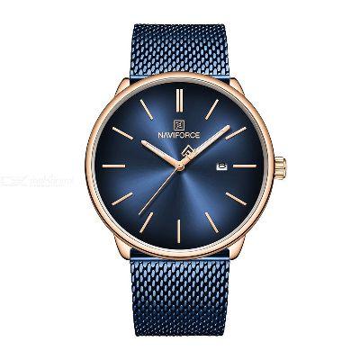 NAVIFORCE 3012 Fashion Mens Quartz Watch, 3ATM Waterproof Stainless Steel Band Wristwatch With Calendar Function