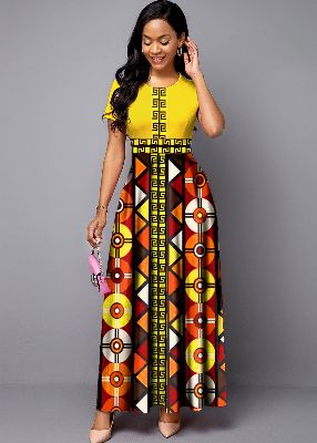 Round Neck Bohemian Print Short Sleeve Maxi Dress