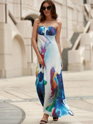 Sexy Elastic Strapless Abstract Printed Maxi Dress For Women
