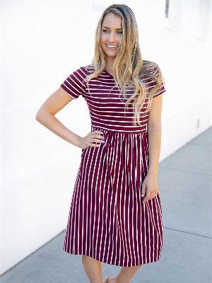 Striped Midi Dress - Burgundy