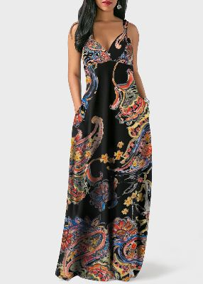 V Back Spaghetti Strap Bohemian Print Pocket Dress