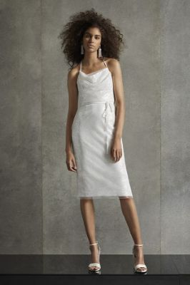 White by Vera Wang Sequin T-Back Cowl Dress