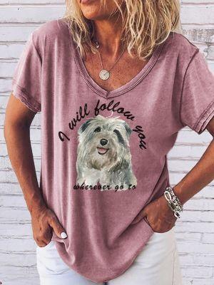 Womens pet print short sleeve T-shirt