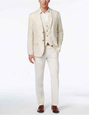 2 Button Beach Wedding Outfit Natural All White Linen - Men's Summer Suit