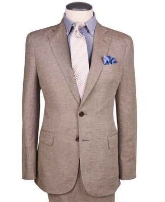 2 Button Dark Tan Wedding - Prom Linen For Beach Wedding Outfit ~ Taupe ~ Khaki Regular Fit Suit