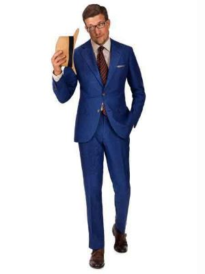 2 Button Intense Blue Linen For Beach Wedding Outfit - Men's Summer Suit