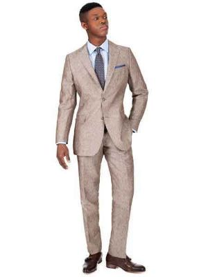 2 Button Khaki Linen For Beach Wedding Outfit - Men's Summer Suit