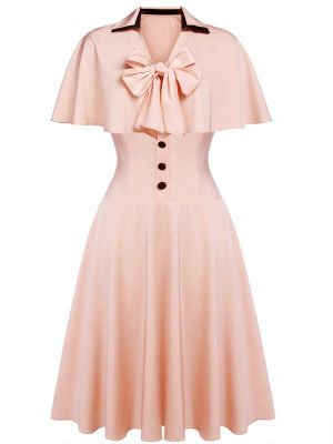 2PCS PINK 1950S LACE-UP CAPE SWING DRESS
