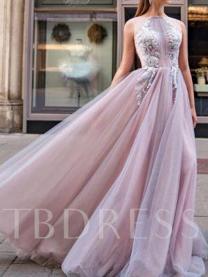 A-Line Floor-Length Appliques High Neck Evening Dress 2020