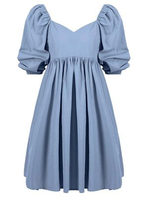 BLUE PUFF SLEEVE MICRO SWING DRESS