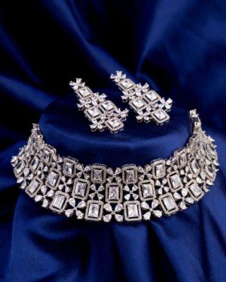 CZ Gems Adorned Choker Necklace Set