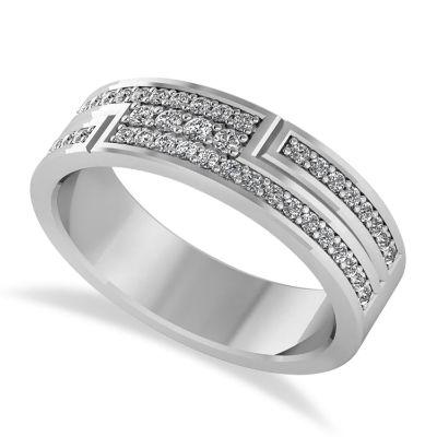 DIAMOND STRAND MEN'S RING/WEDDING BAND 14K WHITE GOLD (0.54CT)