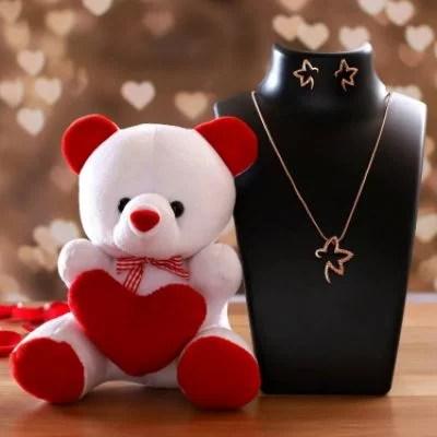 Estele 24 Karat Rose Gold Pendant Set & Cute Teddy