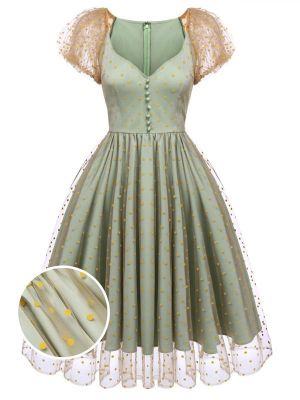GREEN 1950S MESH POLKA DOT SWING DRESS
