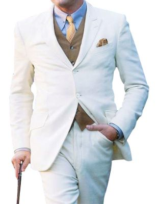 Men's Great Three Piece Off White Suit High Quality Linen For Beach Wedding Outfit Fabric