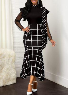 Mesh Panel Plaid and Dot Print Dress
