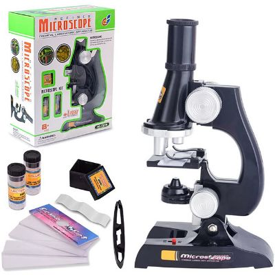 Microscope Educational Toy Adjustable with Lighting Function 100X to 450X Magnification Kid's Boys' Girls' Toy Gift 1 pcs