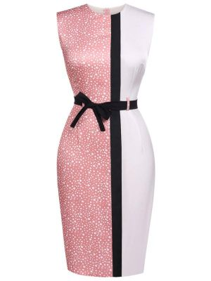 PINK 1960S PATCHWORK BELT PENCIL DRESS