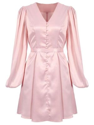 PINK SOLID LANTERN SLEEVE BUTTON DRESS