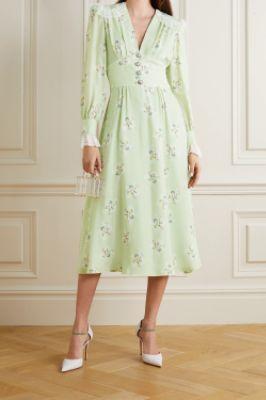 ALESSANDRA RICH - Lace-trimmed floral-print silk crepe de chine midi dress