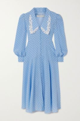 ALESSANDRA RICH - Macramé-trimmed polka-dot silk crepe de chine midi dress