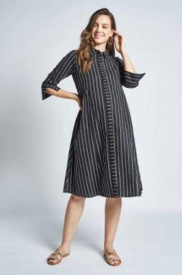 Black - White Stripes Maternity Knee Length Dress