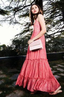 Light Pink Foil Print A-Line Sleeveless Gown