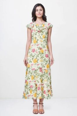Lime Floral Ruffles V-Neck Fit And Flare Midi Gown