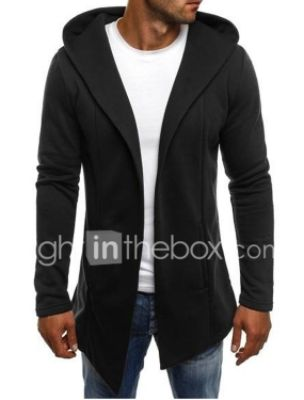 Men's Fashion Keep Warm Sweaters Solid Colored Cardigan Cotton Long Sleeve Long Sweater Cardigans Hooded White Black Light gray