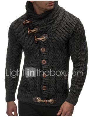 Men's Solid Colored Cardigan Long Sleeve Regular Sweater Cardigans Turtleneck Fall Winter Black Dark Gray Brown