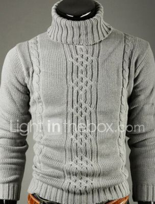Men's Solid Colored Pullover Long Sleeve Sweater Cardigans Rolled collar Light gray Dark Gray