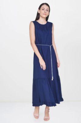 Navy Solid Frills Straight Sleeveless Dress