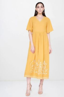 Yellow Pleated V-Neck Fit And Flare Gown