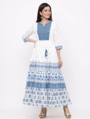 Floral Print Tiered Flare Ethnic Dress 2