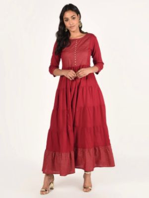 Red Cotton Tiered Ethnic Dress