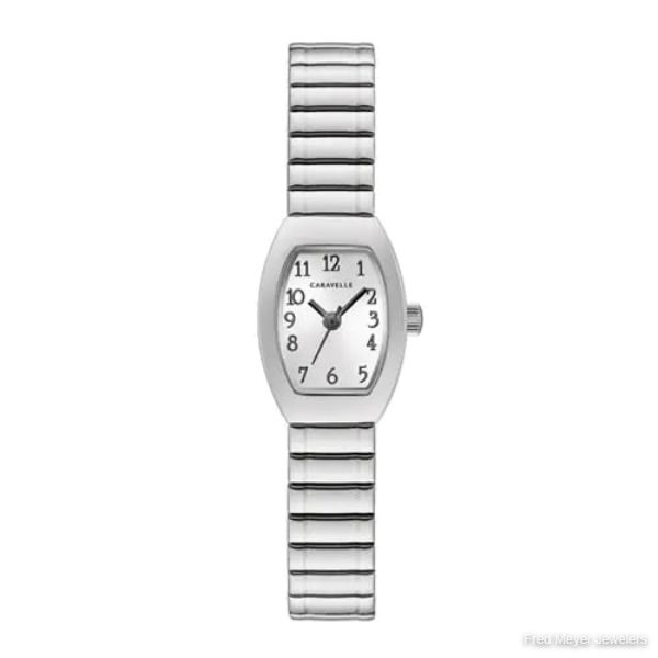 18mm Ladies' Caravelle Watch with Silver-Tone Dial and Silver-Tone Expansion Bracelet