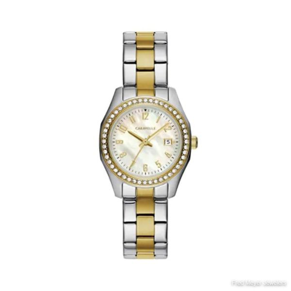 32mm Ladies' Caravelle Crystal Watch with Pearl Dial and Two-Tone Stainless Steel Bracelet