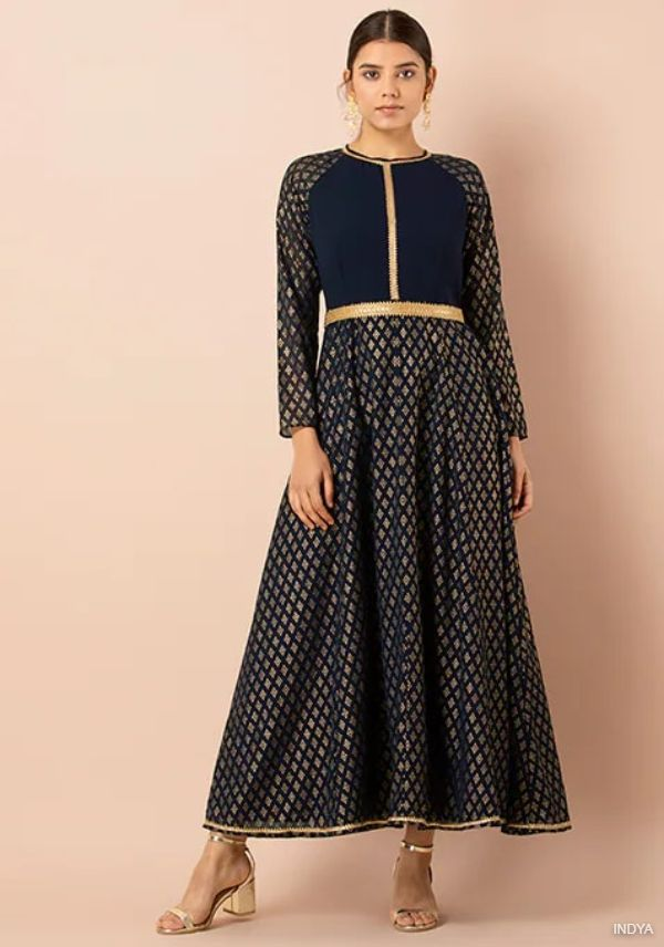 Navy Foil Kalidar Tunic with Attached Belt