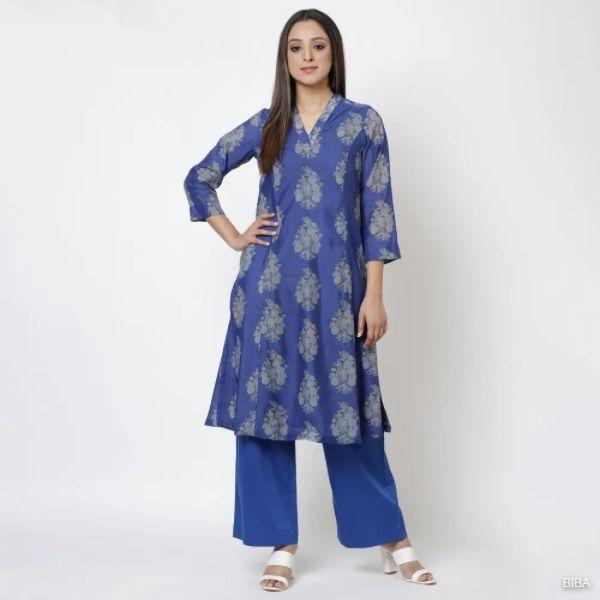 Royal Blue Art Silk Kurta Pants Set