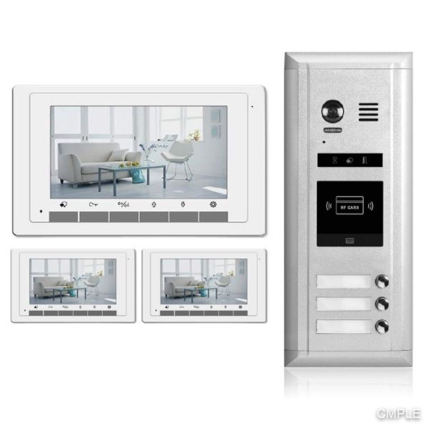 Video Intercom Entry System DK1731S - 3 Apartment Audio/Video Kit (3 monitors included)
