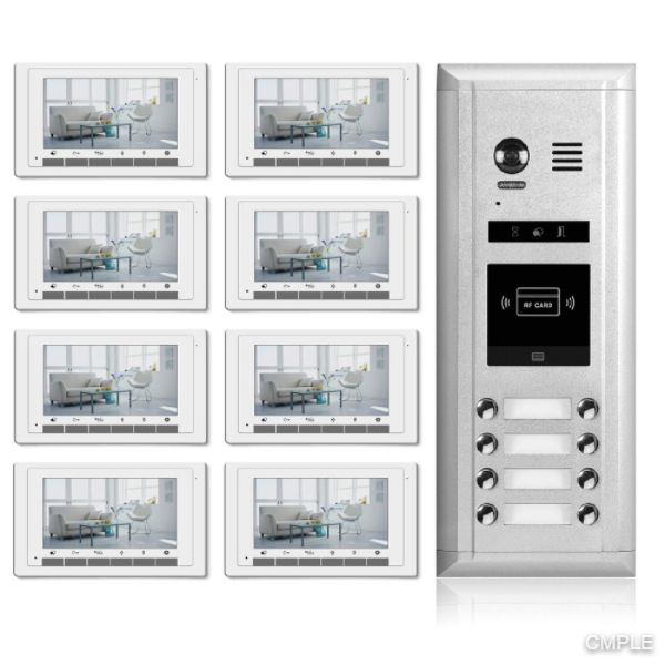Video Intercom Entry System DK1781S - 8 Apartment Audio/Video Kit (8 monitors included)