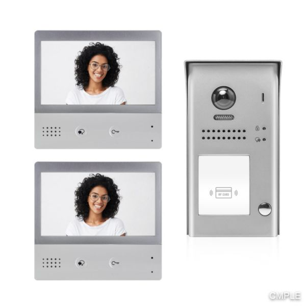 Video Intercom Entry System DX4721M 1 Apartment Audio/Video Kit with 2 Touch Screen Monitors